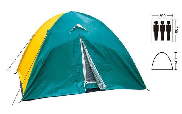 Палатка туристическая трехместная с тентом shengyuan 029: 2х2х1,35 м фото №1