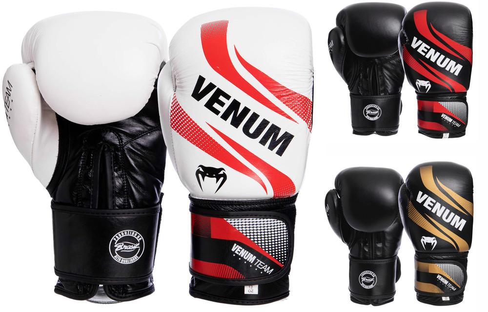 Перчатки боксерские кожаные на липучке venum commando 2040: 10-14 унций (3 цвета) фото №1