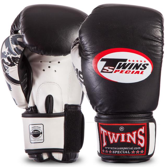 Перчатки боксерские кожаные на липучке twin classic 0269: 14 унций (black/white) фото №1