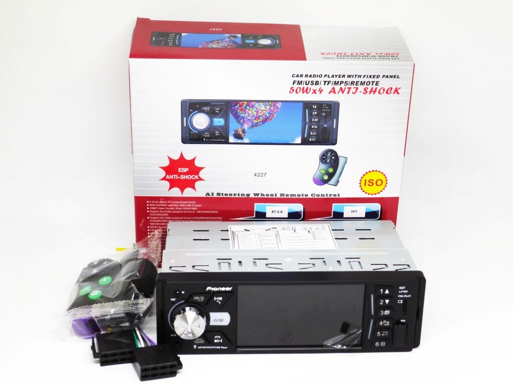 Магнитола pioneer 4227 iso - экран 4,1''+ divx + mp3 + usb + sd + bluetooth фото №1