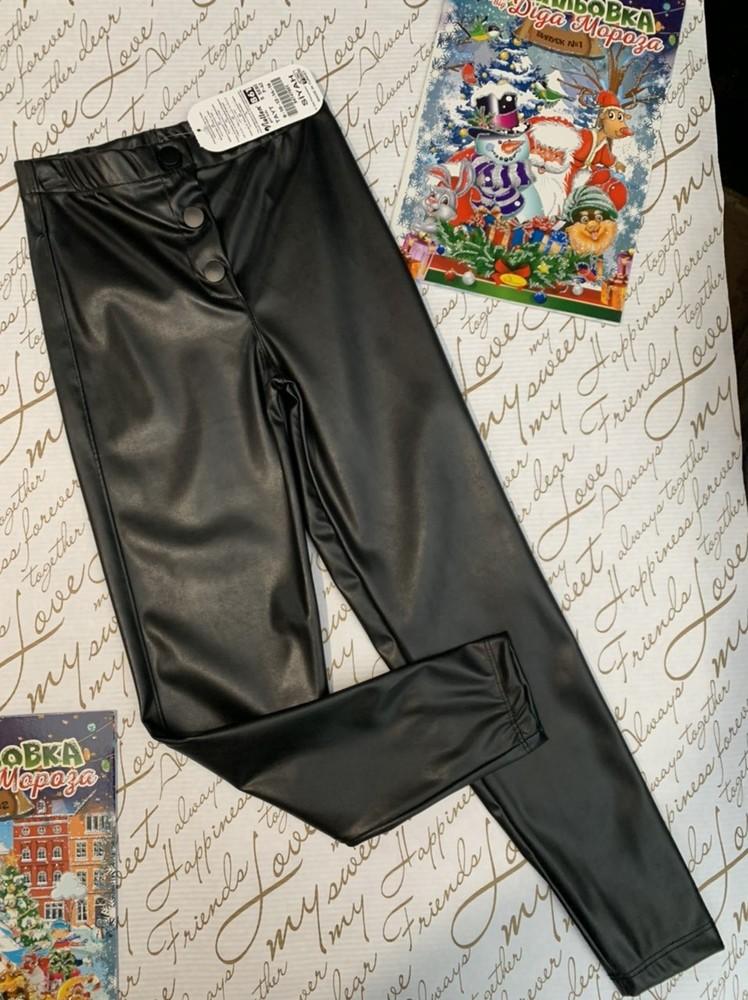 Лосины чёрные кожаные для девочки фото №1
