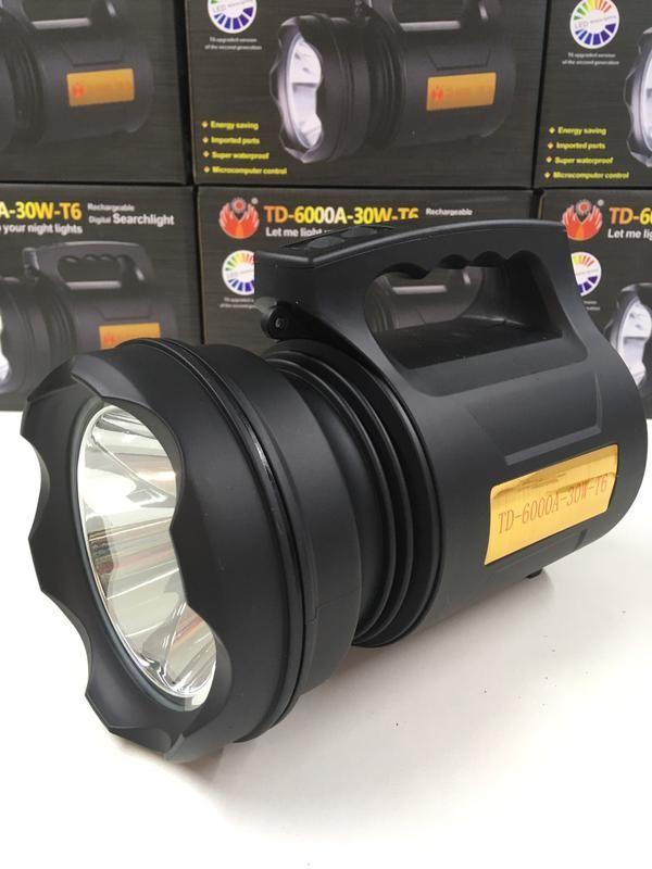 Светодиодный прожектор td 6000 a 30w led фонарь на аккумуляторе фото №1