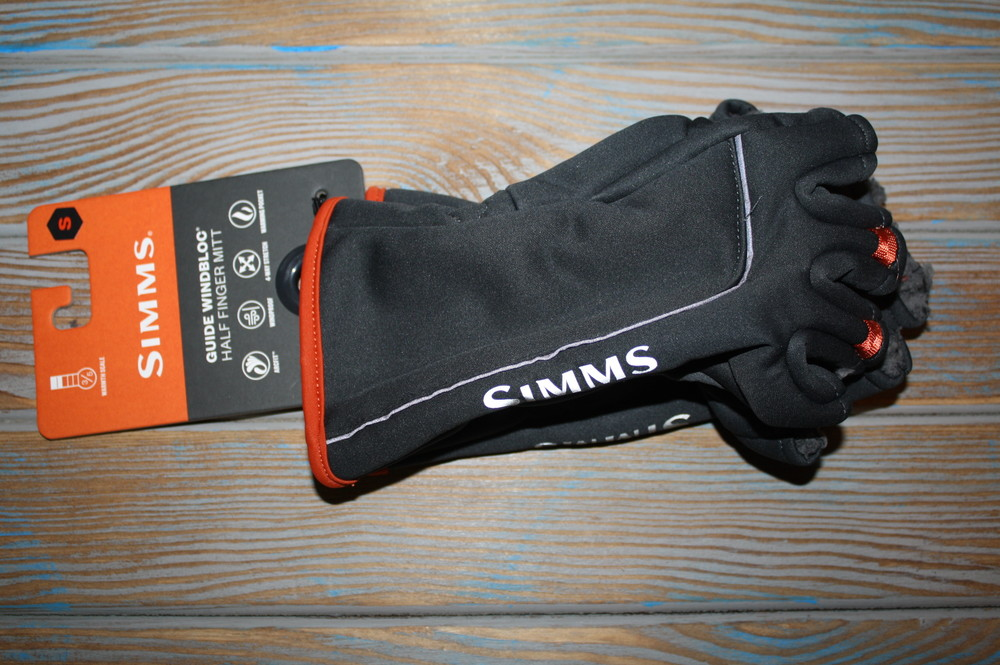 Мужские перчатки simms guide polartec windbloc half-finger gloves фото №1