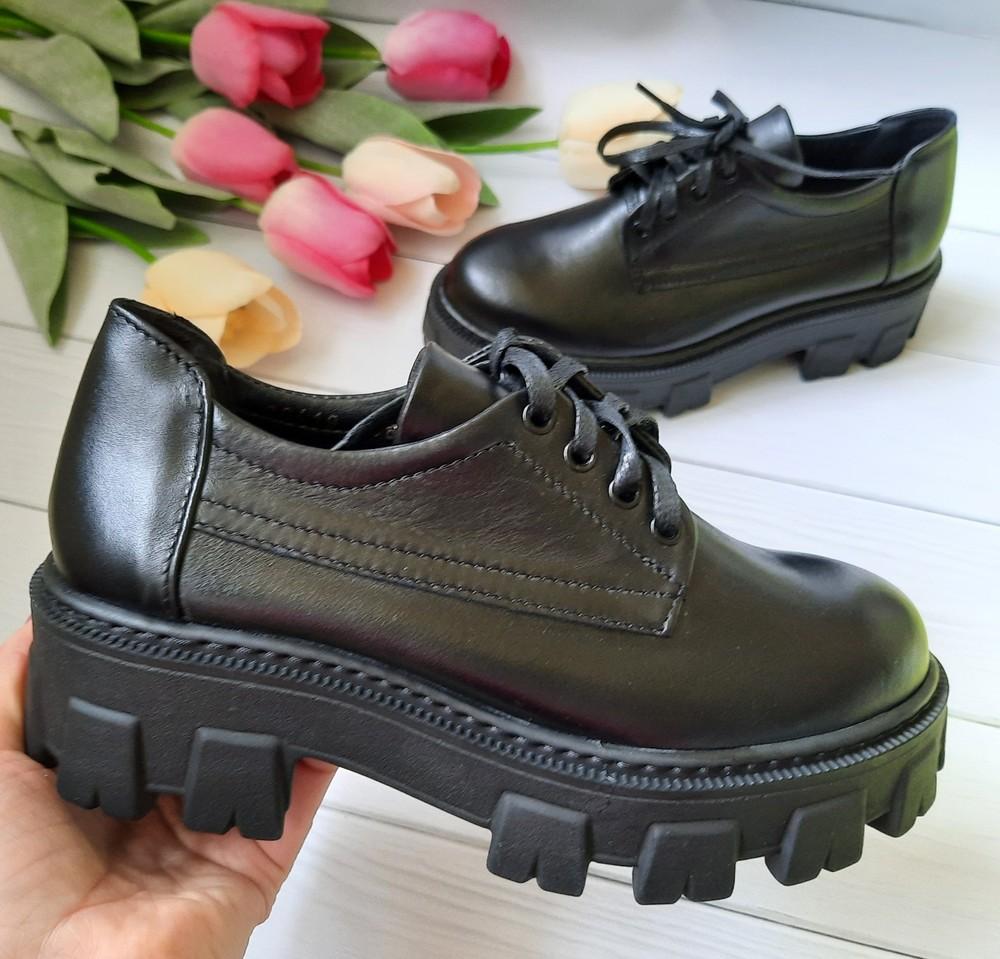 Кожаные деми туфли на высокой платформе 36,37 размеры фото №1