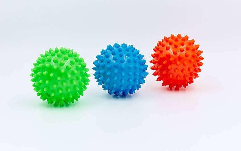 Мячик массажный с пупырышками 5653-7 диаметр 9 см игольчатій мячик иглобол фото №1