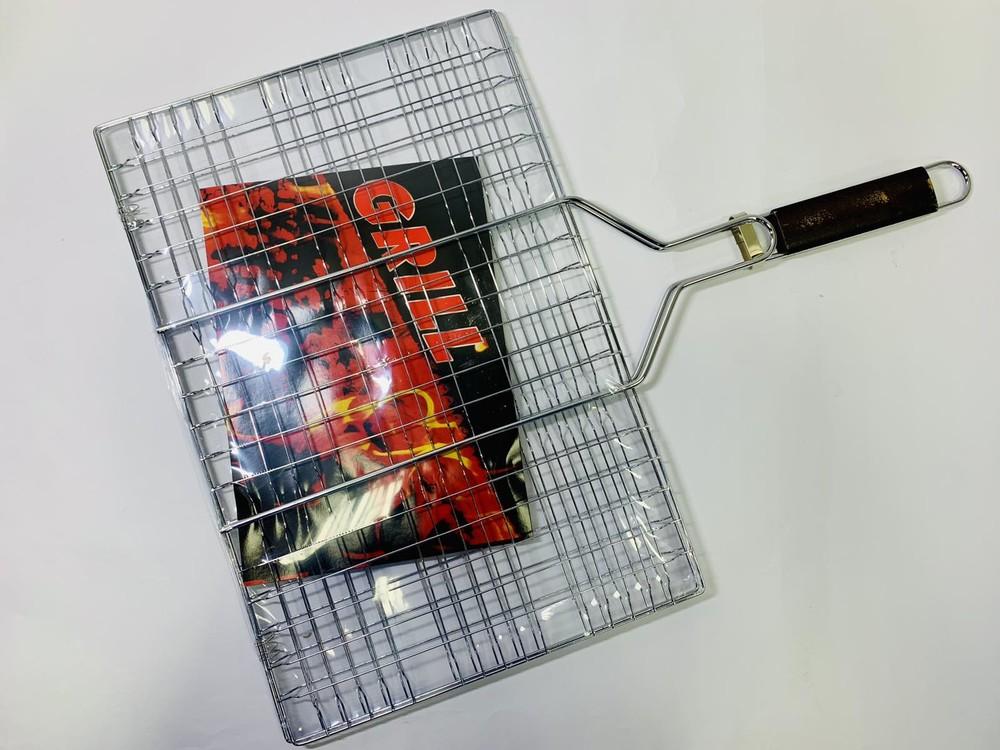 Решетка для гриля и барбекю , сетка для гриля на мангал с ручкой grill 45х30 см. фото №1