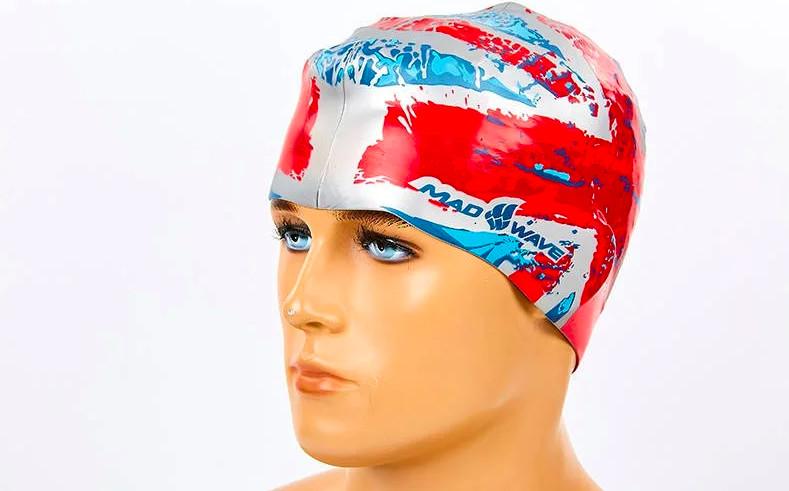 Шапочка для плавания madwave uk 055515: силикон, красно-синий фото №1