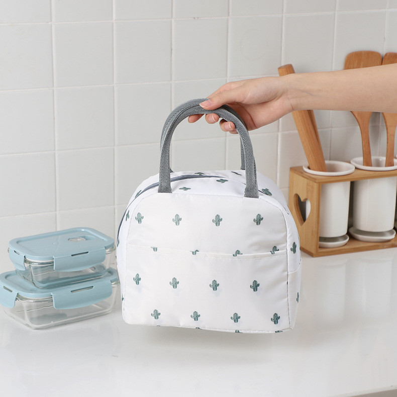 Термосумка, ланч-бокс, сумка для обедов, белая. кактусы. фото №1