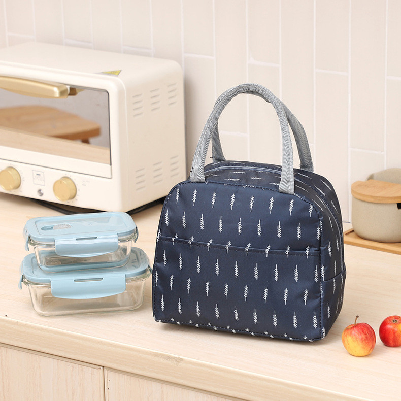 Термосумка, ланч-бокс, сумка для обедов, темно-синяя. веточки. фото №1