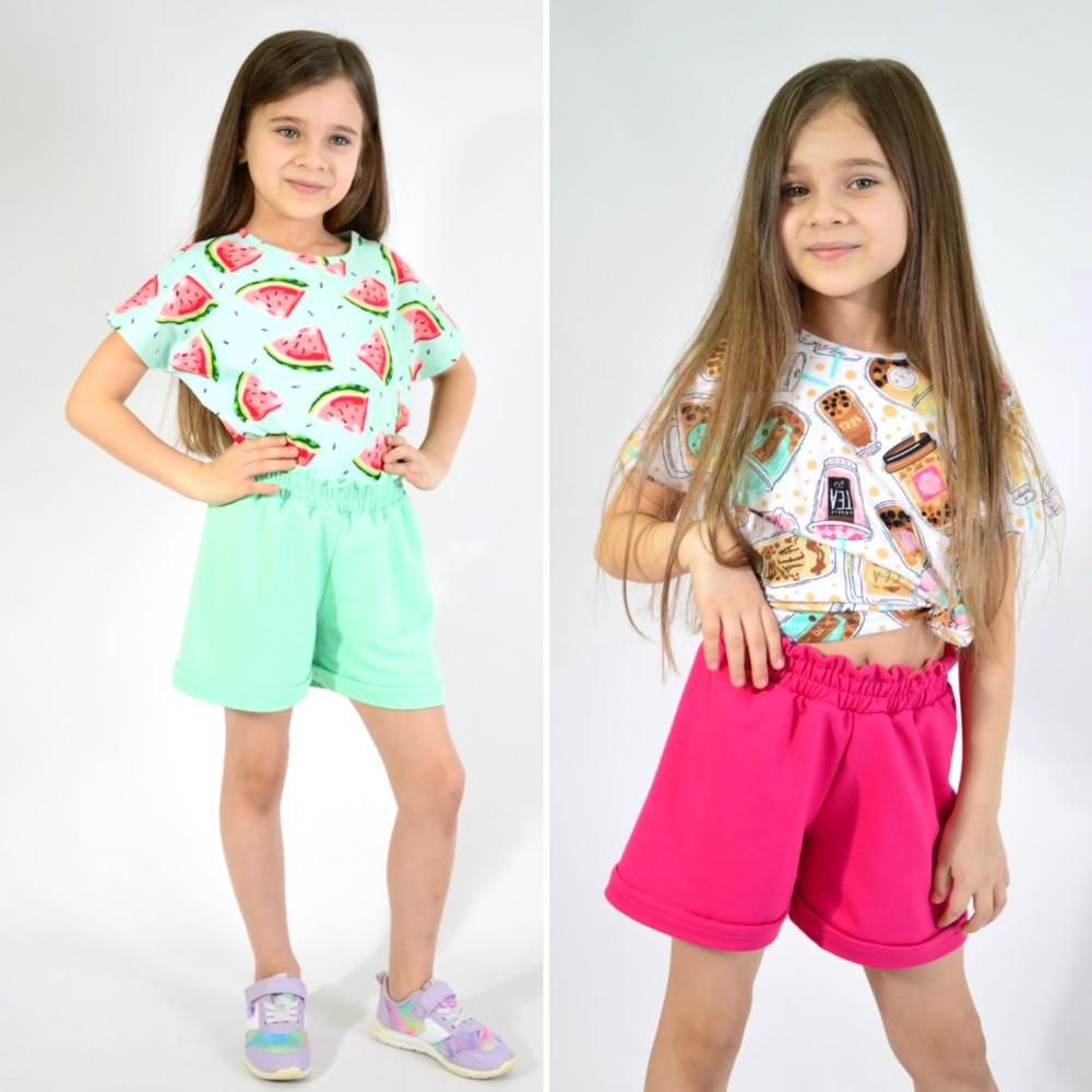 Костюм летний для девочки футболка и шорты (хлопок) фото №1