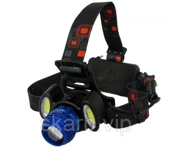 Налобный фонарь с тремя светодиодами и двумя сменными аккумуляторами фото №1