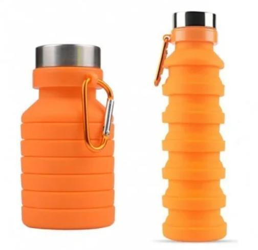 Складная силиконовая бутылка lux вottle 550 мл легкая и компактная для путешествий el-582 фото №1