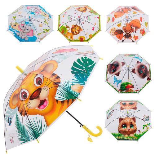 Зонтик детский bt-cu-0033 прозрачный, тросточка фото №1