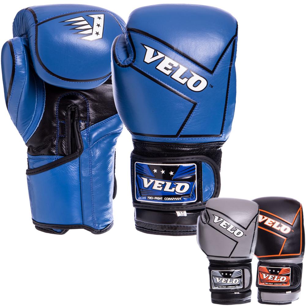 Перчатки боксерские кожаные на липучке velo 2218: 10-12 унций (3 цвета) фото №1