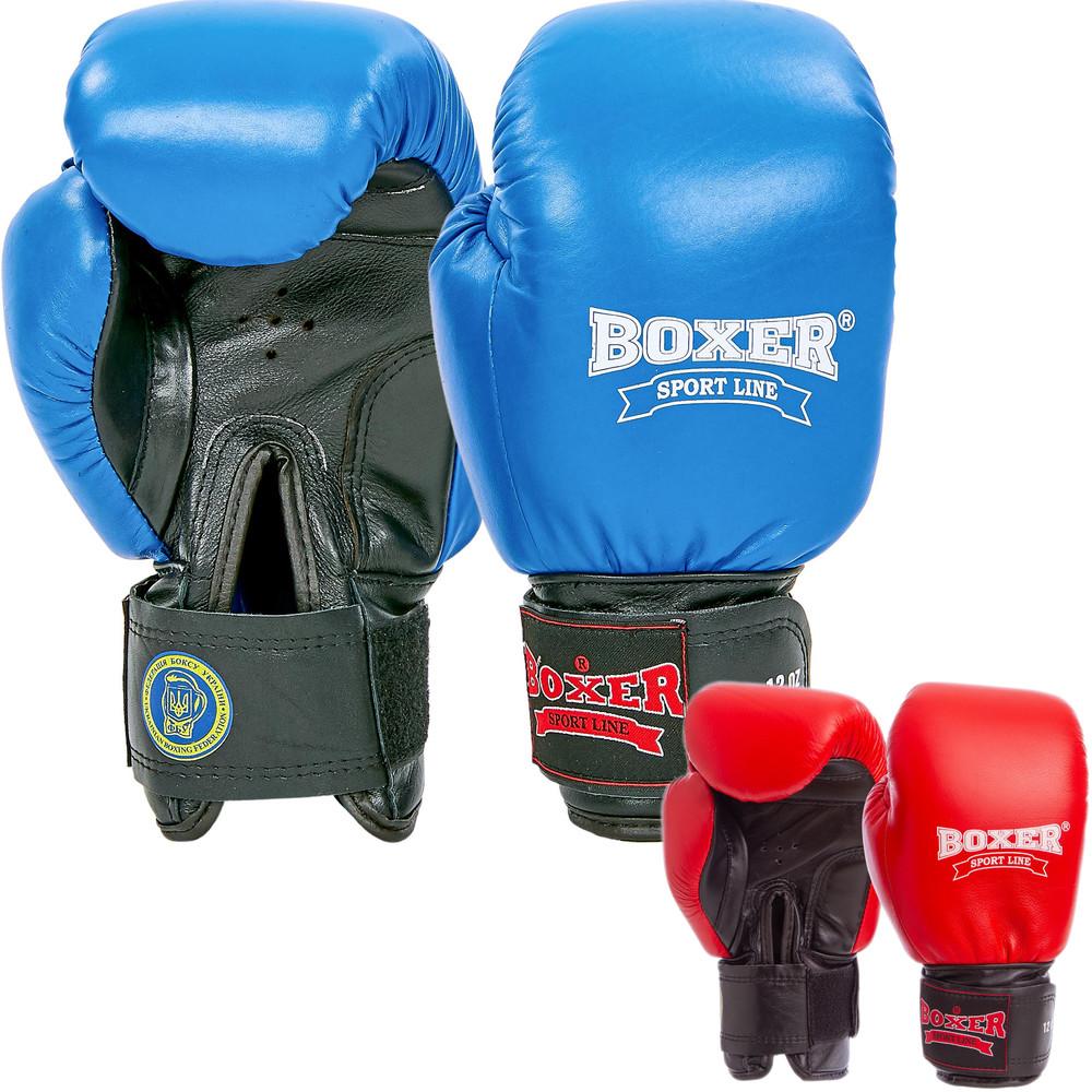 Перчатки боксерские кожаные профессиональные на липучке boxer 2001: 10-12 унций (2 цвета) фото №1