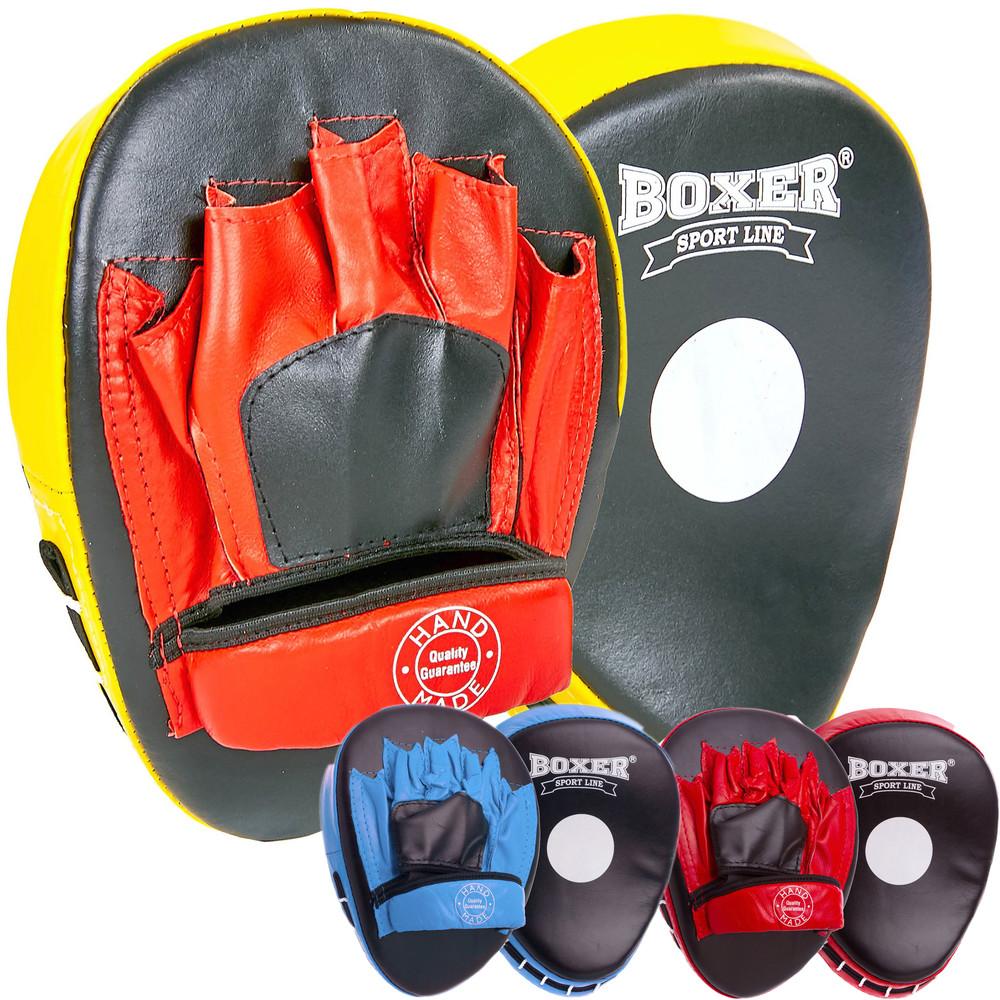 Лапа изогнутая кожаная боксерская boxer 2010-01: 2 лапы в комплекте (3 цвета) фото №1