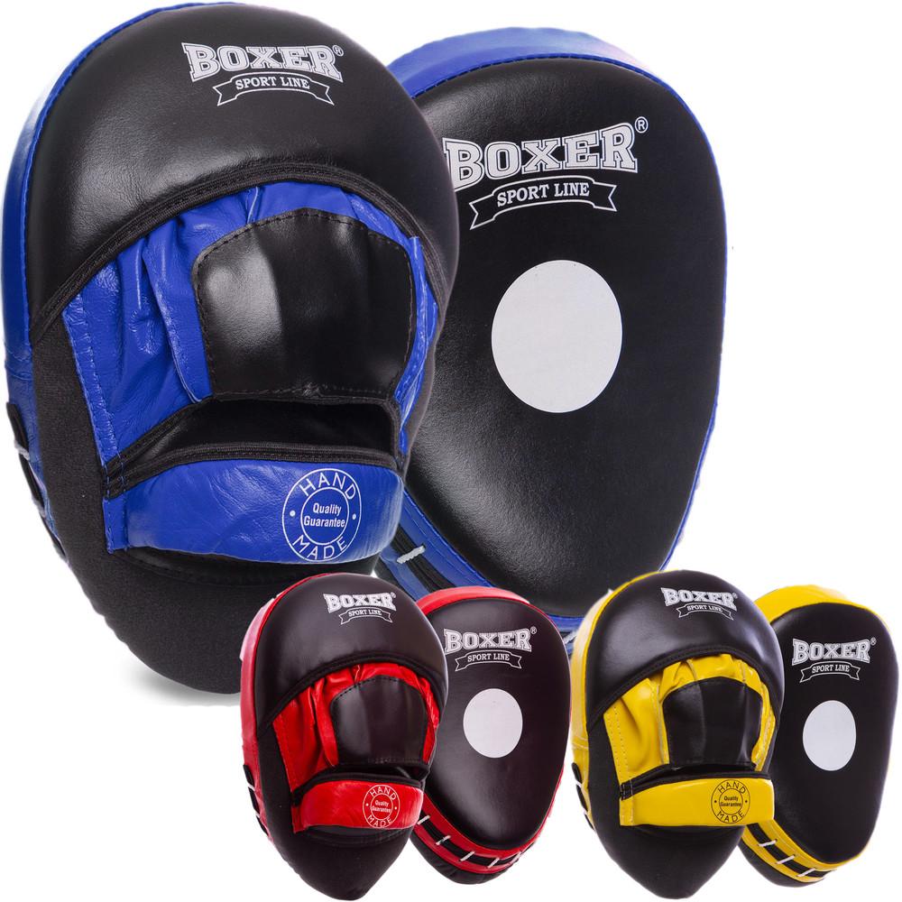 Лапа изогнутая кожаная боксерская boxer 2012-01: 2 лапы в комплекте (3 цвета) фото №1