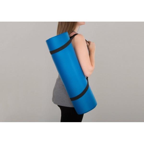 Йогамат мат для йоги и фитнеса из вспененного каучука profi nbr 183х61см толщина 10 мм синий фото №1