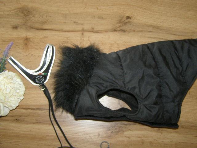 Теплая жилетка с мехом и шлея со светоотражающим кантом tre ponti для маленькой собачки или кота ит фото №1