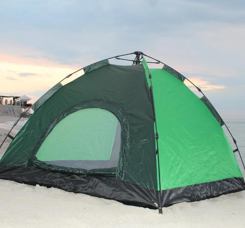 Палатка автоматическая 6-стиместная зеленая синяя фото №1