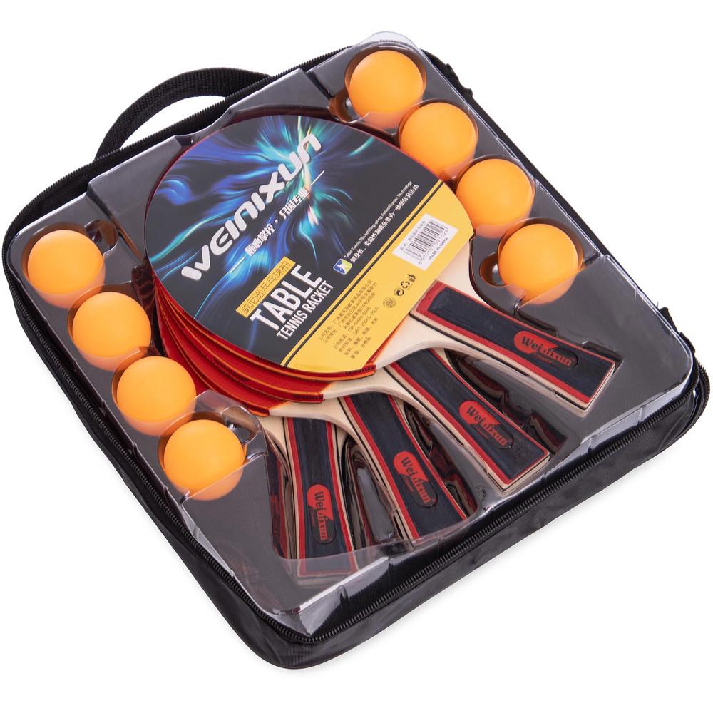 Набор для настольного тенниса weinixun mt-350: 4 ракетки + 6 мячей фото №1