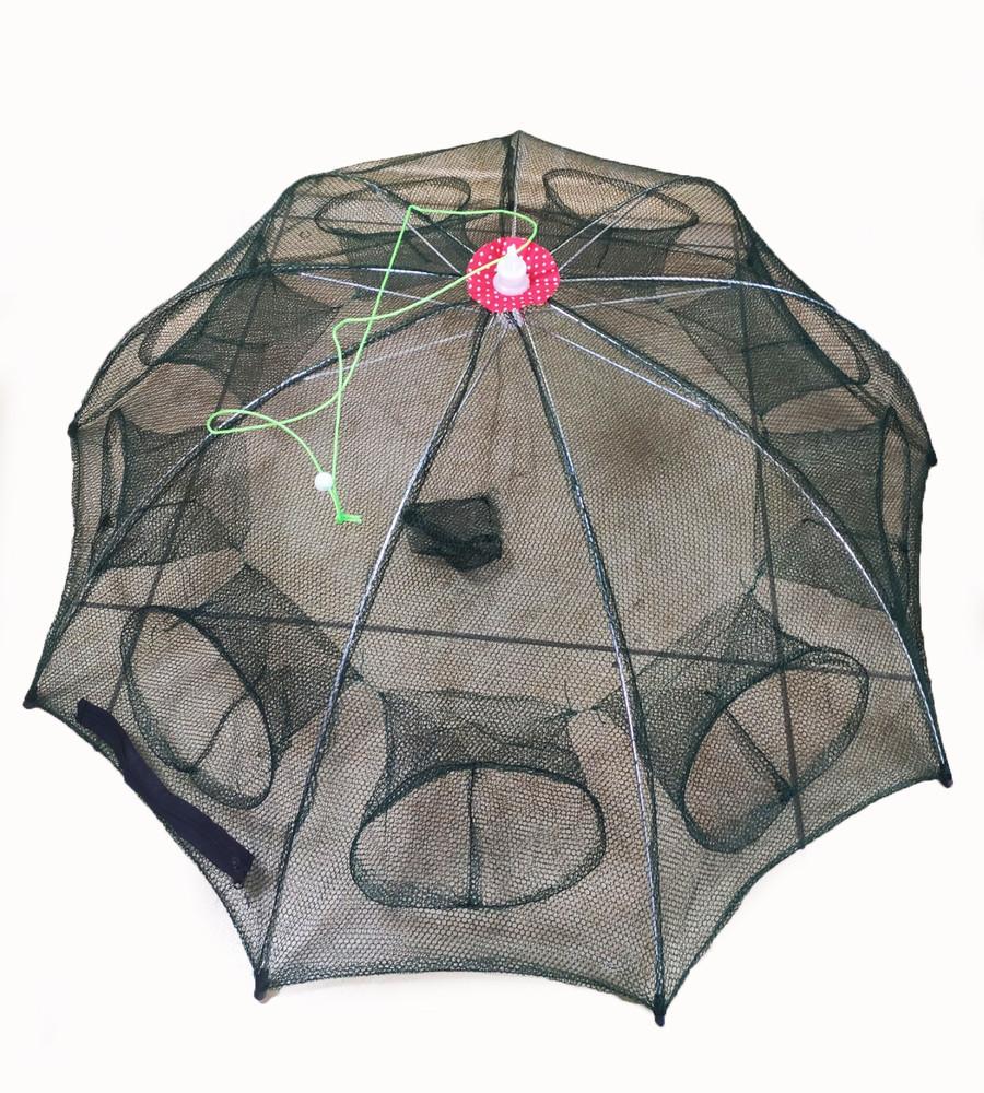Раколовка зонт рачевня, рачница ловушка верша для рыбалки на 9 входов фото №1